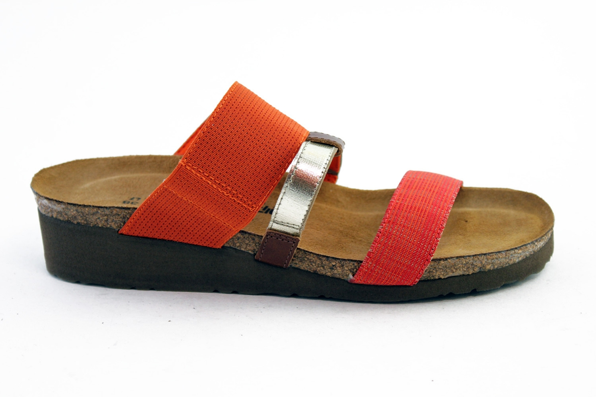 18d99adfe026 Brenda is a slip on sandal made with colourful stretch textiles and  accenting leathers to hold the foot in place when walking. All these  colours make Naot s ...