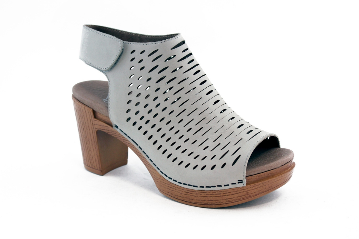 d87f6409231b These perforated leather open-toe shoes are adjustable with hook   loop  closure